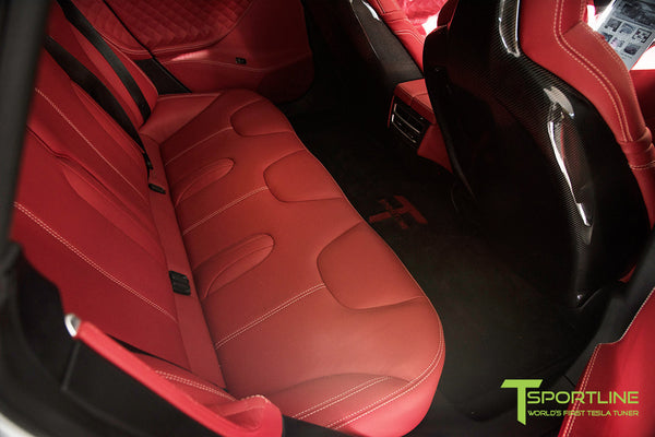 Project TS6 - Model S (2012-2016) - Custom Bentley Red Interior - Gloss Carbon Fiber Trim by T Sportline 5