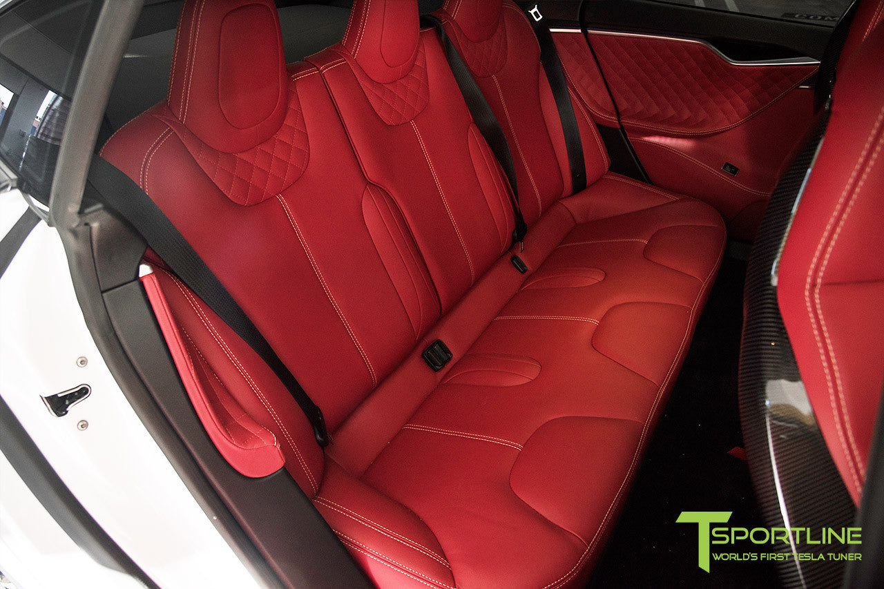 Project TS6 - Model S (2012-2016) - Custom Bentley Red Interior - Gloss Carbon Fiber Trim by T Sportline 4