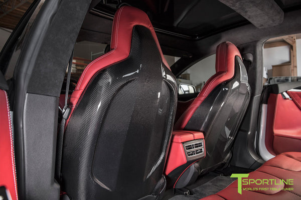 Project TS6 - Model S (2012-2016) - Custom Bentley Red Interior - Gloss Carbon Fiber Trim by T Sportline 3