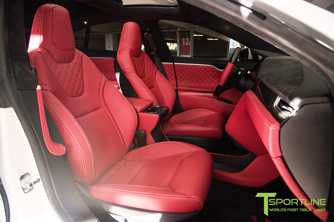 Project TS6 - Model S (2012-2016) - Custom Bentley Red Interior - Gloss Carbon Fiber Trim by T Sportline 18