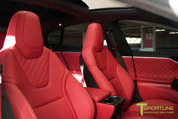Project TS6 - Model S (2012-2016) - Custom Bentley Red Interior - Gloss Carbon Fiber Trim by T Sportline 17