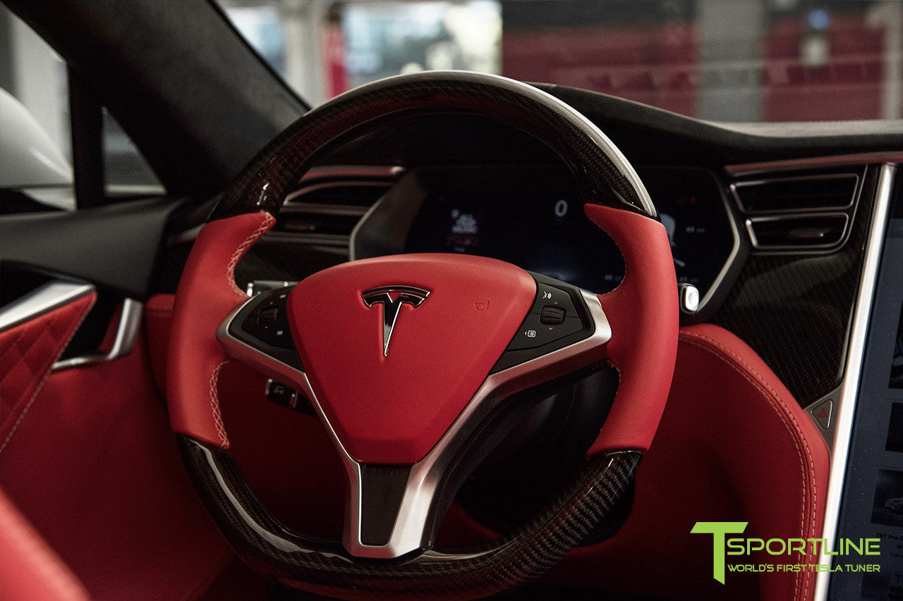 Project TS6 - Model S (2012-2016) - Custom Bentley Red Interior - Gloss Carbon Fiber Trim by T Sportline 16