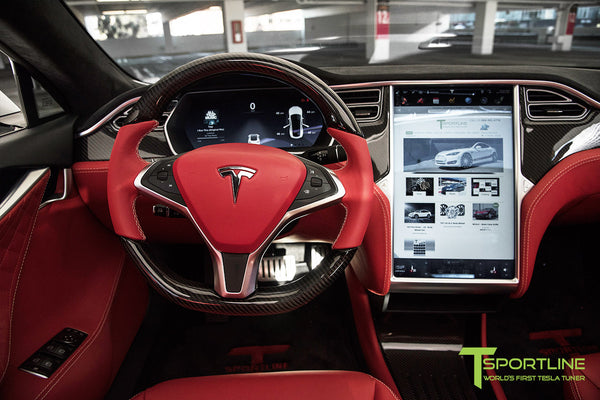 Project TS6 - Tesla Model S P90D - Custom Bentley Red -  Carbon Fiber Dash Kit - Dashboard - Steering Wheel 2