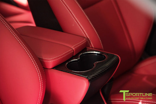 Project TS6 - Model S (2012-2016) - Custom Bentley Red Interior - Gloss Carbon Fiber Trim by T Sportline 12
