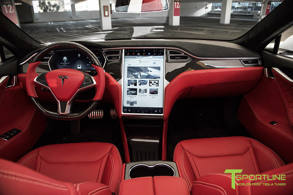 Project TS6 - Model S (2012-2016) - Custom Bentley Red Interior - Gloss Carbon Fiber Trim by T Sportline 11