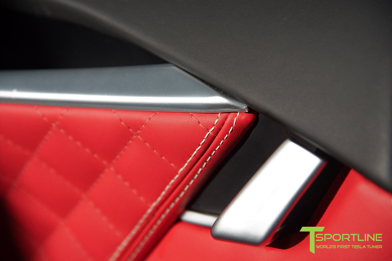 Project TS6 - Model S (2012-2016) - Custom Bentley Red Interior - Gloss Carbon Fiber Trim by T Sportline 10