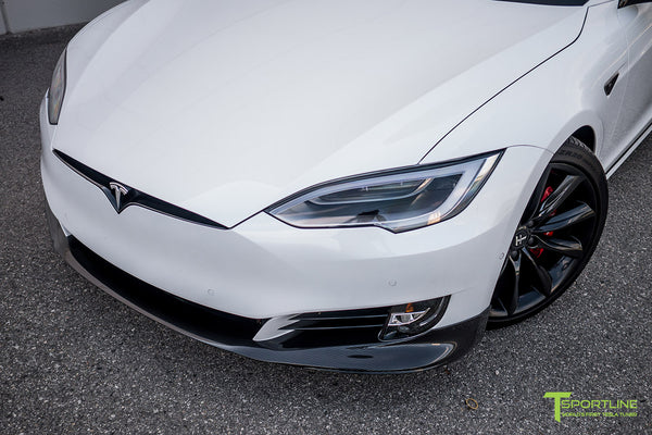 Pearl White Tesla Model S 2.0 (2016 Facelift) with Carbon Fiber Front Apron by T Sportline 1