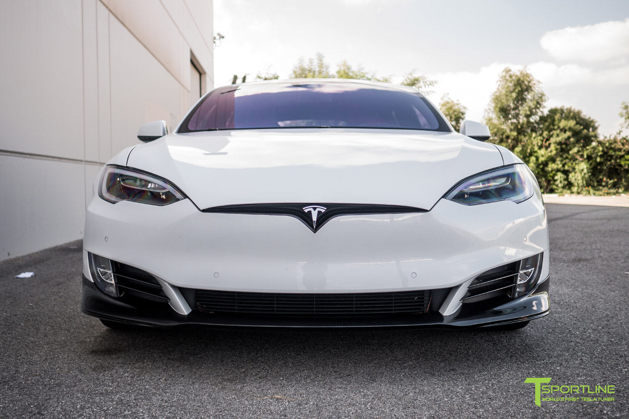 Pearl White Tesla Model S 2.0 (2016 Facelift) with Carbon Fiber Front Apron by T Sportline