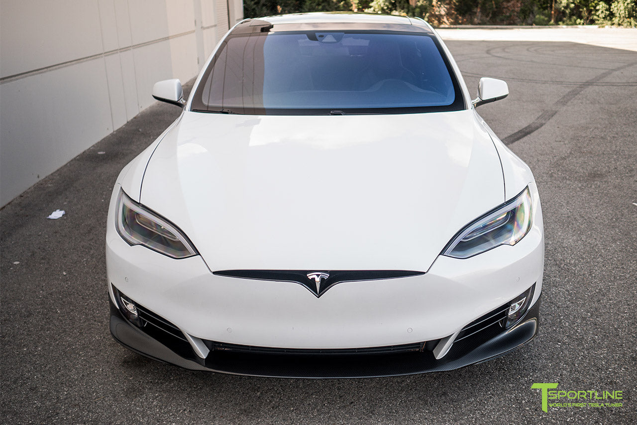 Pearl White Tesla Model S 2.0 (2016 Facelift) with Carbon Fiber Front Apron by T Sportline 5