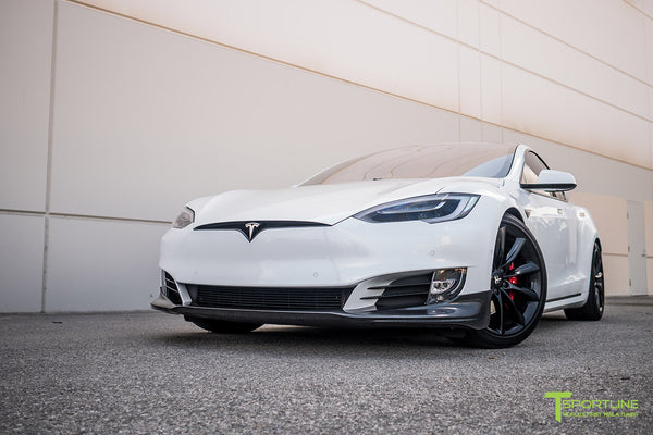 Pearl White Tesla Model S 2.0 (2016 Facelift) with Carbon Fiber Front Apron by T Sportline 4