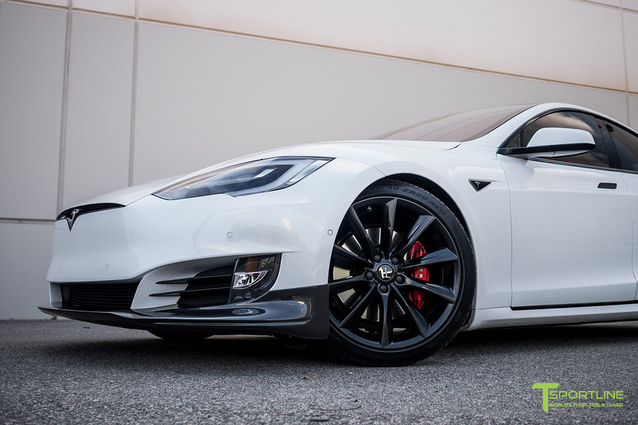 Pearl White Tesla Model S 2.0 (2016 Facelift) with Carbon Fiber Front Apron by T Sportline 3