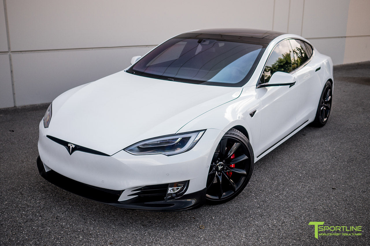 Pearl White Tesla Model S 2.0 (2016 Facelift) with Carbon Fiber Front Apron by T Sportline 2