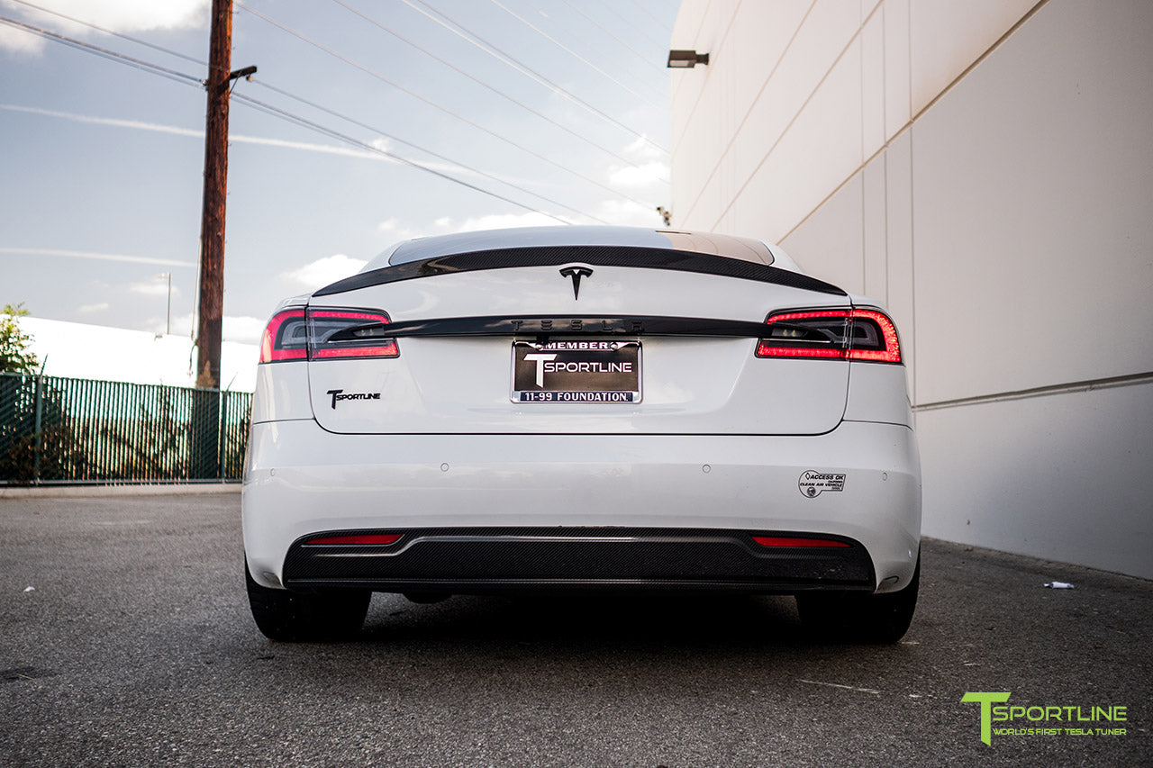 Pearl White Tesla Model S 2.0 (2016 Facelift) with Carbon Fiber Front Apron, Rear Diffuser, and Trunk Wing by T Sportline