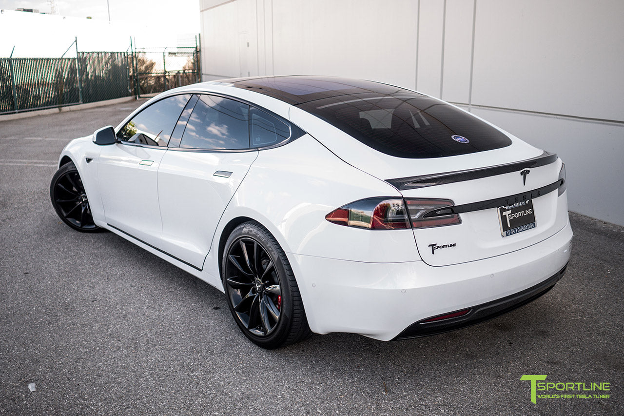 Pearl White Tesla Model S 2.0 (2016 Facelift) with Carbon Fiber Front Apron, Rear Diffuser, and Trunk Wing by T Sportline 2