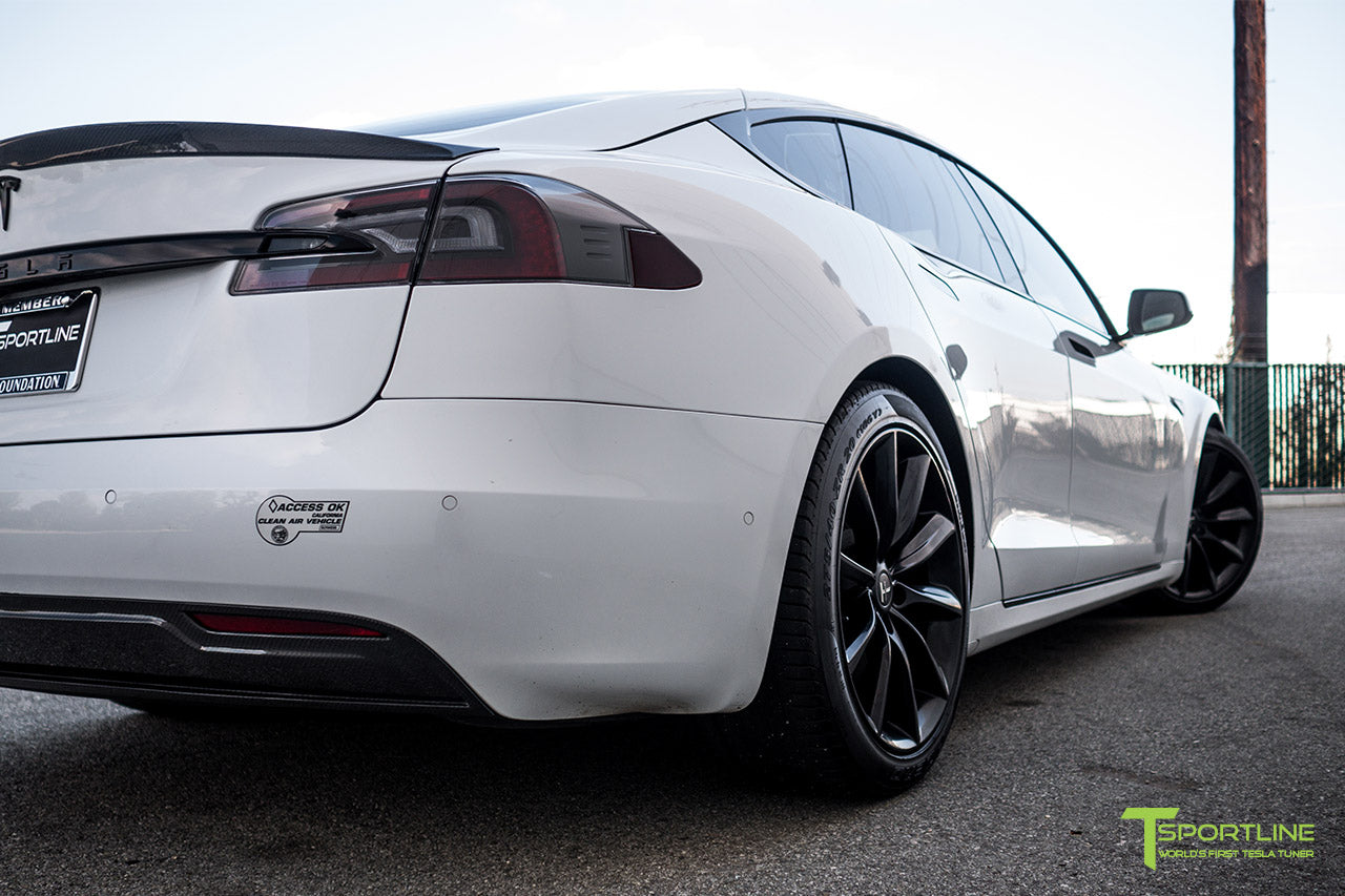 Pearl White Tesla Model S 2.0 (2016 Facelift) with Carbon Fiber Diffuser by T Sportline