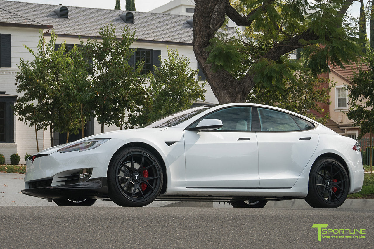 Pearl White Tesla Model S P100D with Matte Black TS115 Forged Wheels, Digital License Plate, and Carbon Fiber Sport Package (Front Apron, Trunk Wing, Rear Diffuser) by T Sportline 14