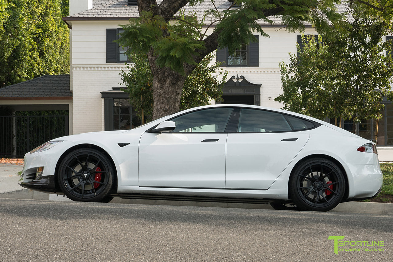 Pearl White Tesla Model S P100D with Matte Black TS115 Forged Wheels, Digital License Plate, and Carbon Fiber Sport Package (Front Apron, Trunk Wing, Rear Diffuser) by T Sportline 13