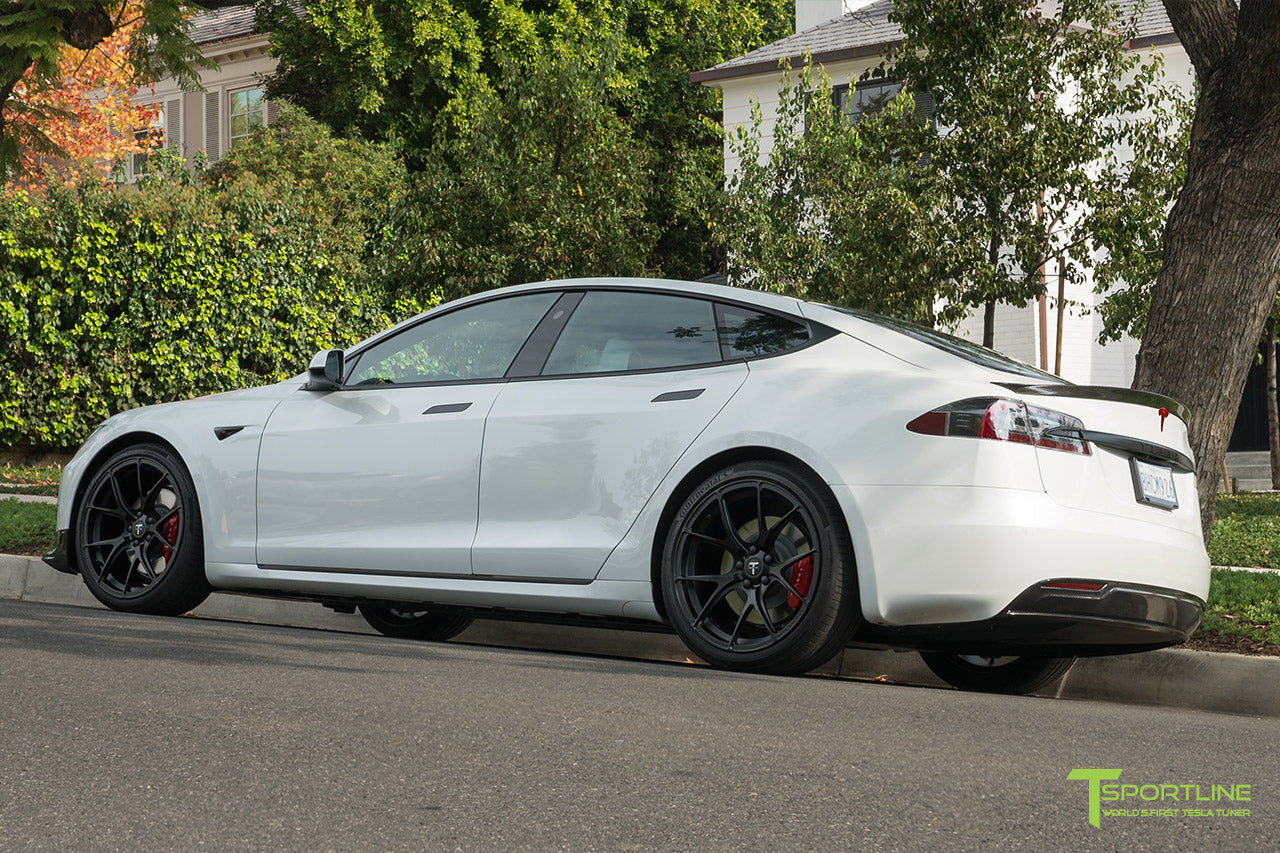 Pearl White Tesla Model S P100D with Matte Black TS115 Forged Wheels, Digital License Plate, and Carbon Fiber Sport Package (Front Apron, Trunk Wing, Rear Diffuser) by T Sportline 12