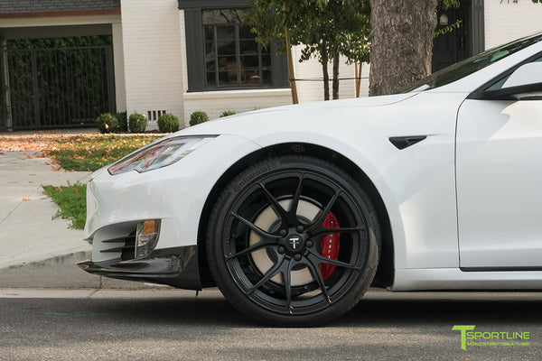 Pearl White Tesla Model S P100D with Matte Black TS115 Forged Wheels, Digital License Plate, and Carbon Fiber Sport Package (Front Apron, Trunk Wing, Rear Diffuser) by T Sportline 11
