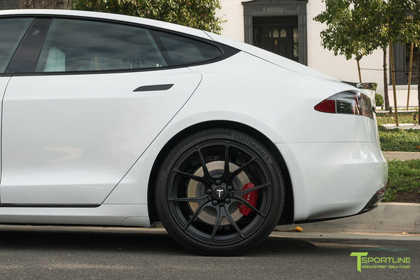Pearl White Tesla Model S P100D with Matte Black TS115 Forged Wheels, Digital License Plate, and Carbon Fiber Sport Package (Front Apron, Trunk Wing, Rear Diffuser) by T Sportline 10