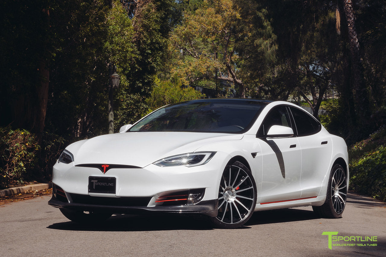 Pearl White Tesla Model S 2016 Facelift P100D with 21 inch TS114 Forged Wheels in Diamond Black by T Sportline 4