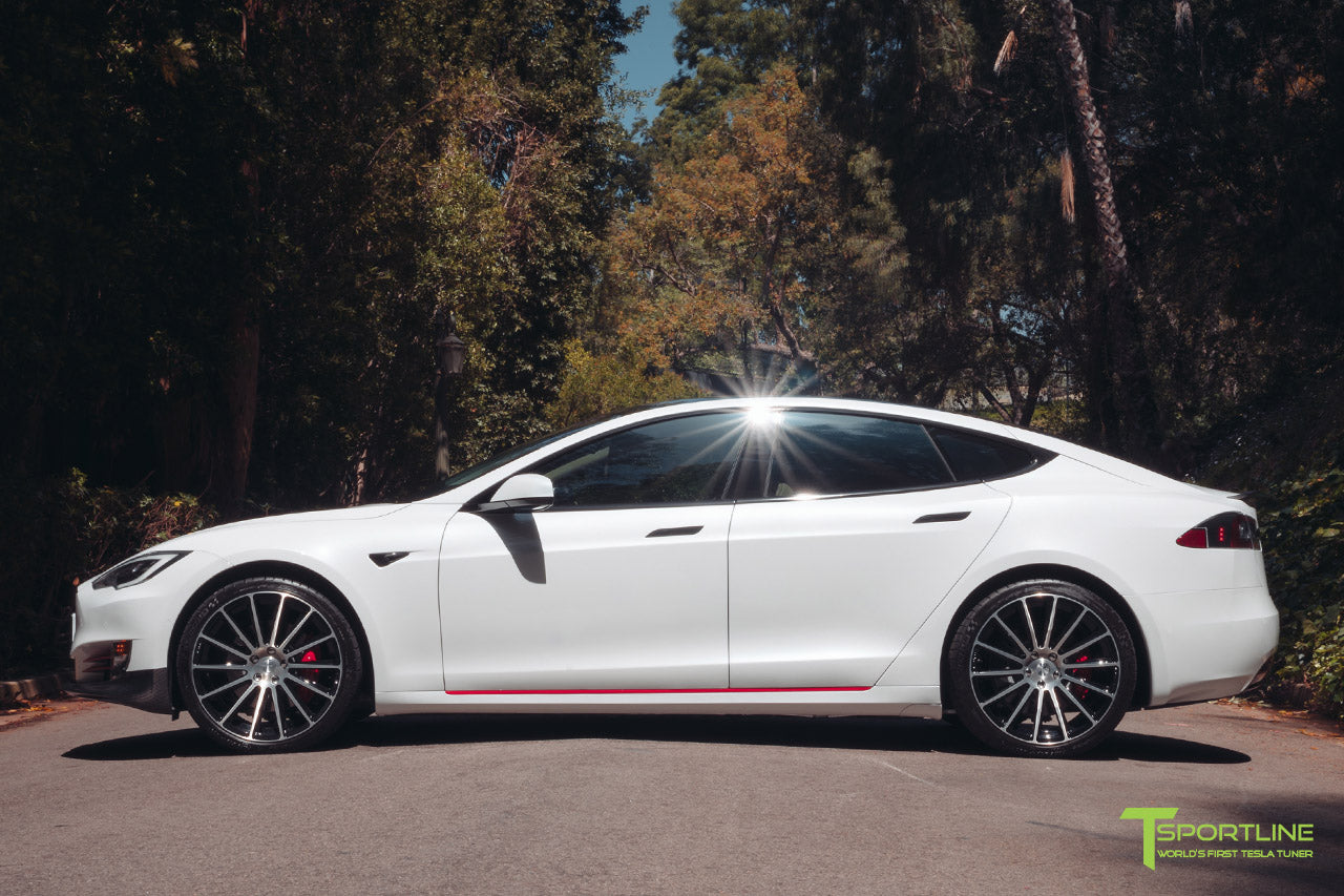 Pearl White Tesla Model S 2016 Facelift P100D with 21 inch TS114 Forged Wheels in Diamond Black by T Sportline 3