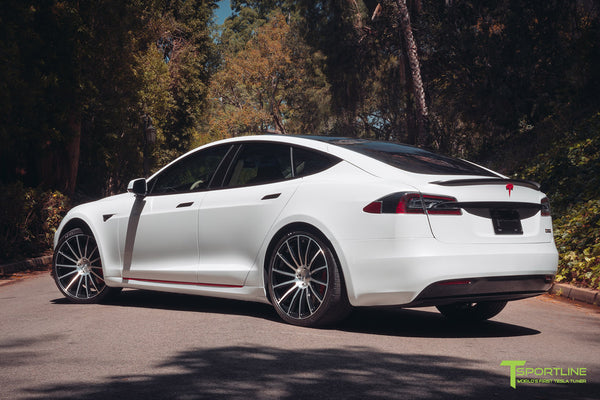 Pearl White Tesla Model S 2016 Facelift P100D with 21 inch TS114 Forged Wheels in Diamond Black by T Sportline 2