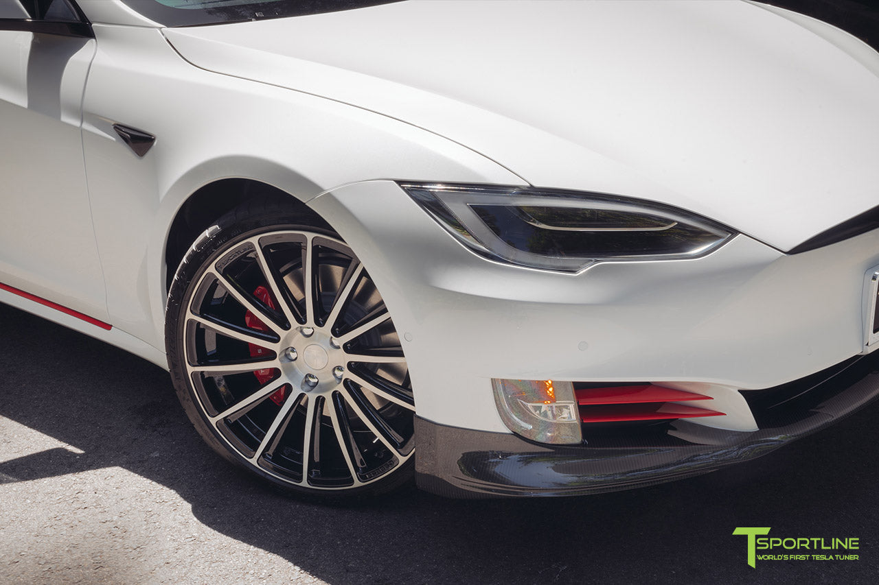 Pearl White Tesla Model S 2016 Facelift P100D with 21 inch TS114 Forged Wheels in Diamond Black by T Sportline