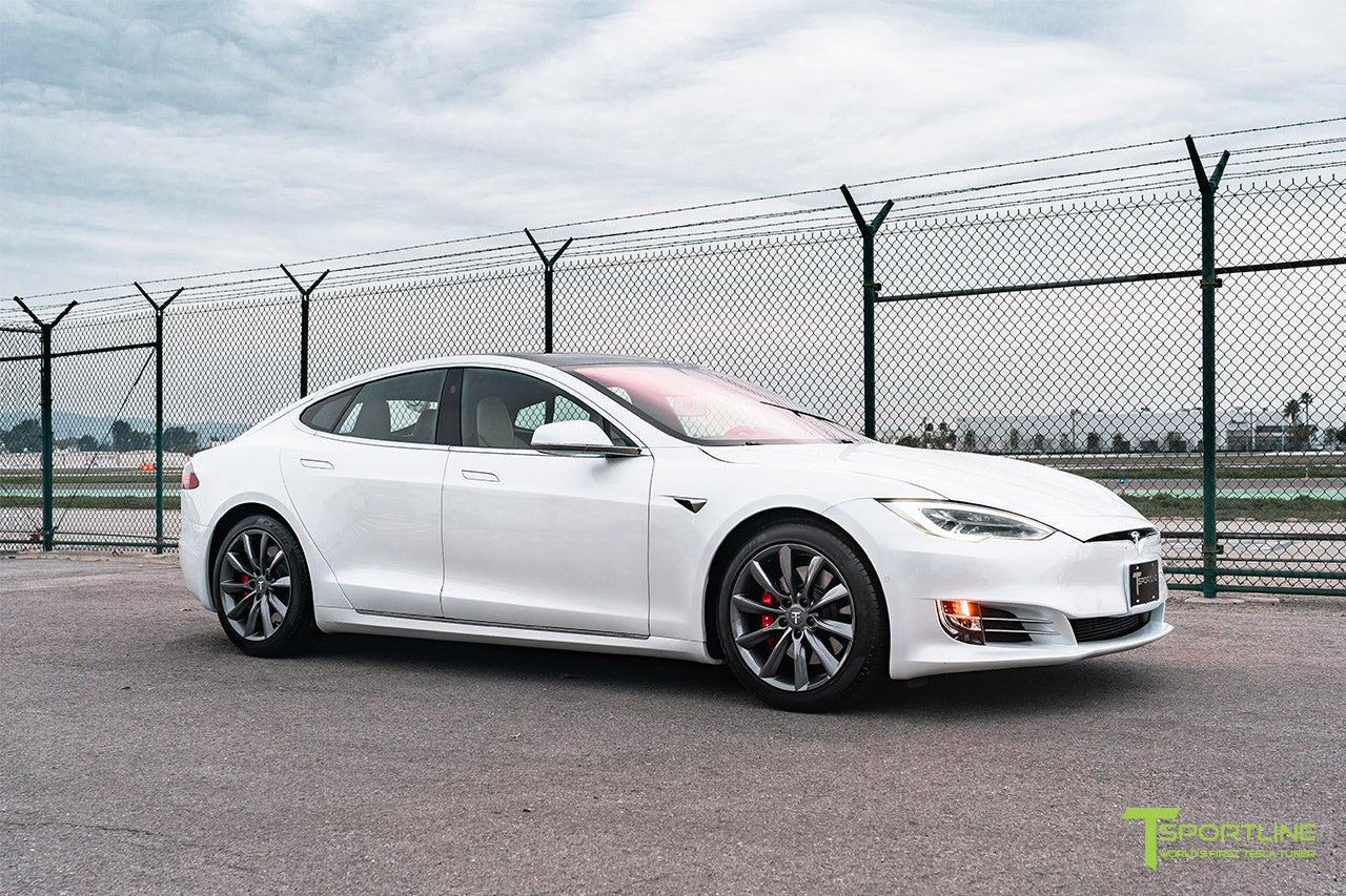 "Pearl White Tesla Model S with Space Gray 19"" TST Flow Forged Wheels by T Sportline"