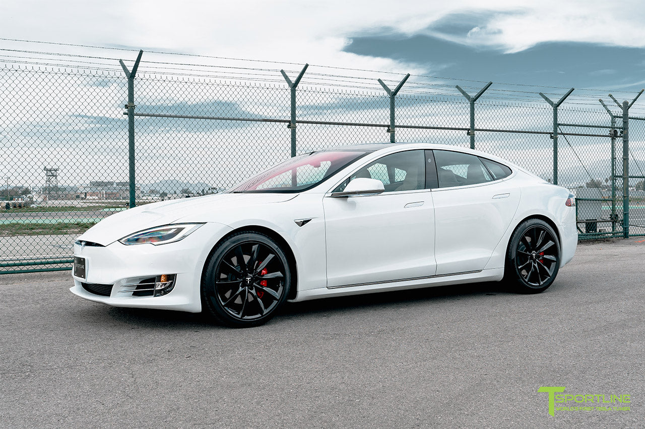 "Pearl White Tesla Model S with Gloss Black 20"" TST Flow Forged Wheels by T Sportline"