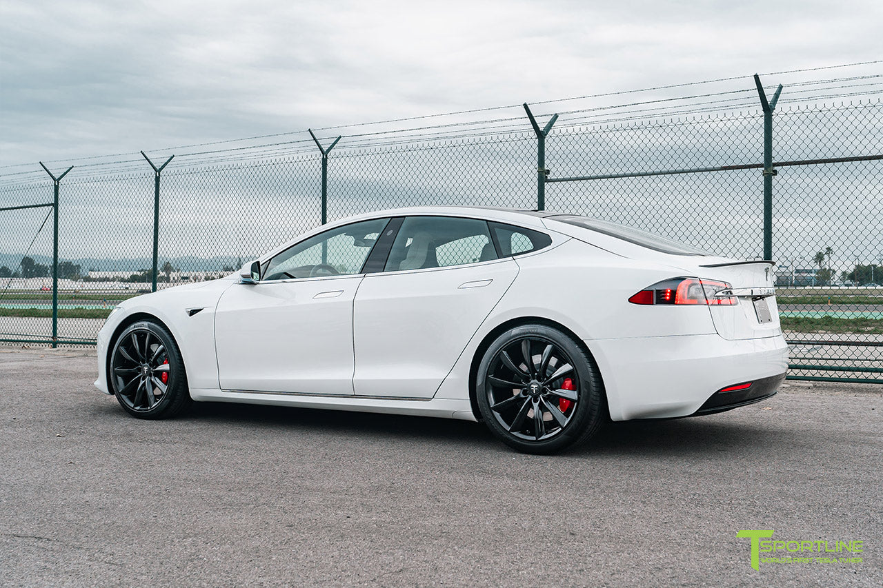 "Pearl White Tesla Model S with Matte Black 20"" TST Flow Forged Wheels by T Sportline"