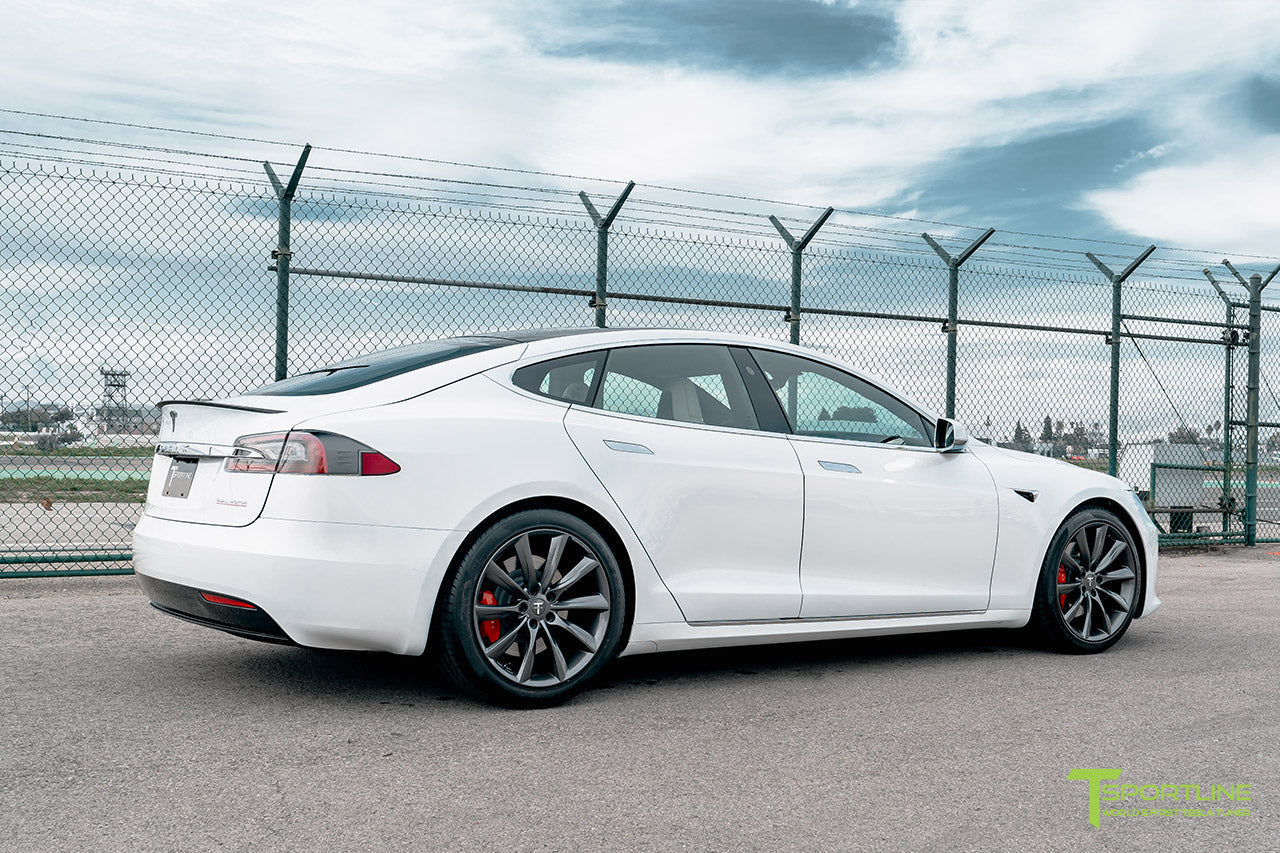 "Pearl White Tesla Model S with Space Gray 20"" TST Flow Forged Wheels by T Sportline"