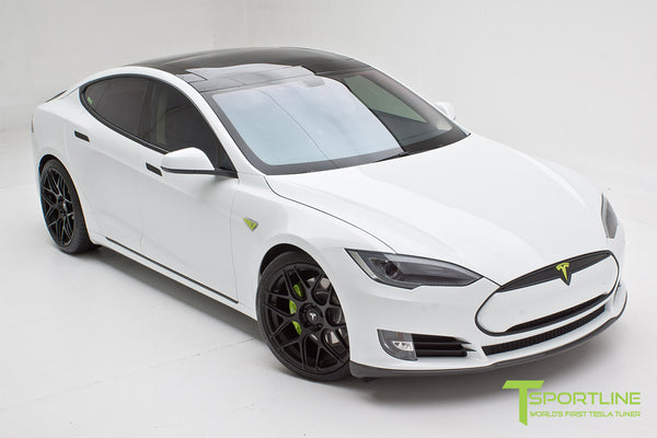 Project TS2 - Tesla Model S 85 - Black Interior - Piano Black - Dashboard - Carbon Fiber Front Apron, Diffuser, and Trunk Wing - Elon Musk Signed