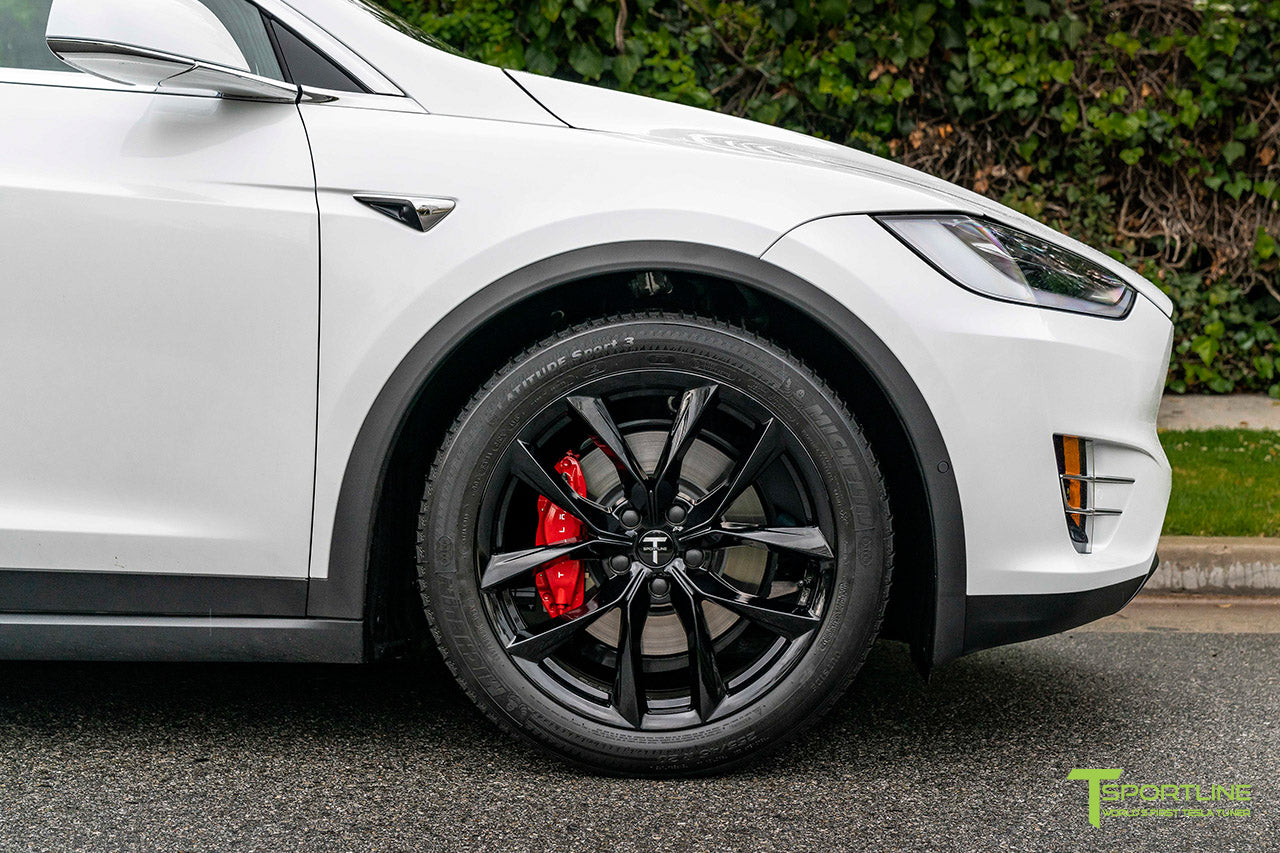 "Pearl White Tesla Model X with 20"" TSS Flow Forged Wheels in Gloss Black by T Sportline"