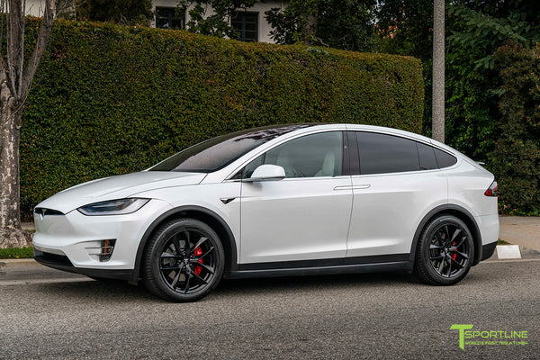 Pearl White Tesla Model X with 20