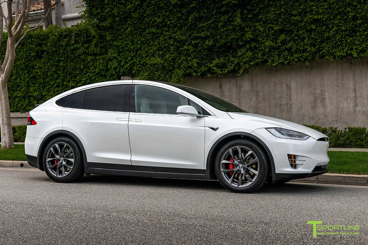 "Pearl White Tesla Model X with 20"" TSS Flow Forged Wheels in Space Gray by T Sportline"