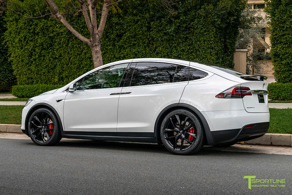 Pearl White Tesla Model X with 22