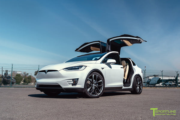 Pearl White Tesla Model X with 22 inch TSS Flow Forged Wheels in Space Gray by T Sportline 7