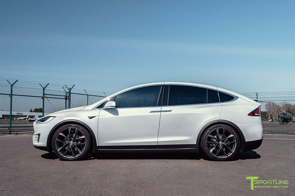 Pearl White Tesla Model X with 22 inch TSS Flow Forged Wheels in Space Gray by T Sportline 6