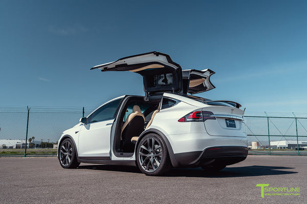 Pearl White Tesla Model X with 22 inch TSS Flow Forged Wheels in Space Gray by T Sportline 5