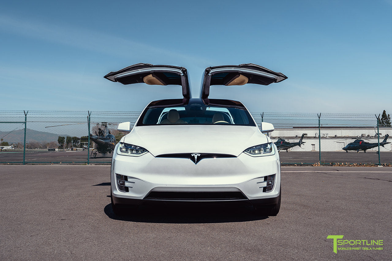 Pearl White Tesla Model X with 22 inch TSS Flow Forged Wheels in Space Gray by T Sportline 4