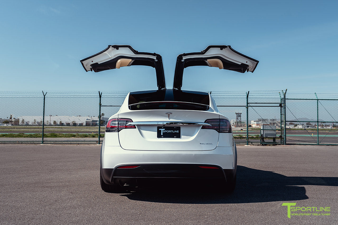 Pearl White Tesla Model X with 22 inch TSS Flow Forged Wheels in Space Gray by T Sportline 3