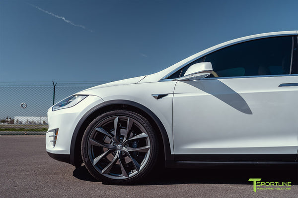 Pearl White Tesla Model X with 22 inch TSS Flow Forged Wheels in Space Gray by T Sportline 2