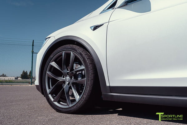 Pearl White Tesla Model X with 22 inch TSS Flow Forged Wheels in Space Gray by T Sportline 1