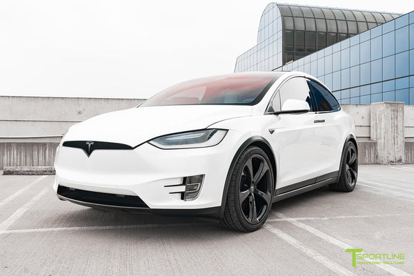 Project White X2 - 2016 Tesla Model X P90D Ludicrous with Ultra White Interior, 22 inch MX5 Forged Wheels Gloss Black, and Matte Carbon Fiber Steering Wheel by T Sportline 16