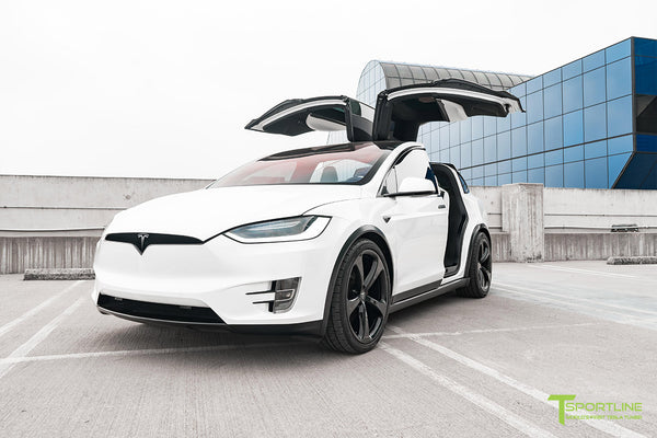 Project White X2 - 2016 Tesla Model X P90D Ludicrous with Ultra White Interior, 22 inch MX5 Forged Wheels Gloss Black, and Matte Carbon Fiber Steering Wheel by T Sportline 15