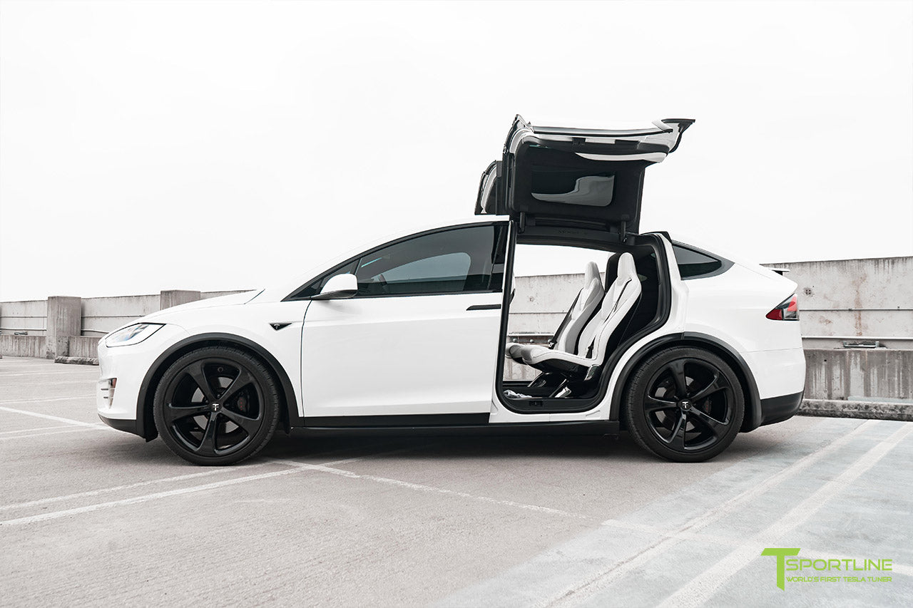 Project White X2 - 2016 Tesla Model X P90D Ludicrous with Ultra White Interior, 22 inch MX5 Forged Wheels Gloss Black, and Matte Carbon Fiber Steering Wheel by T Sportline 13