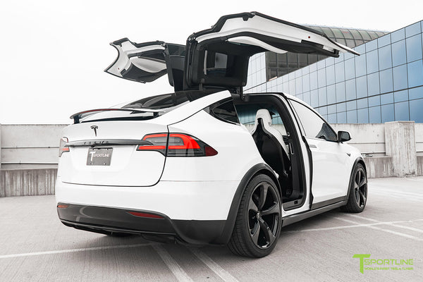 Project White X2 - 2016 Tesla Model X P90D Ludicrous with Ultra White Interior, 22 inch MX5 Forged Wheels Gloss Black, and Matte Carbon Fiber Steering Wheel by T Sportline 11