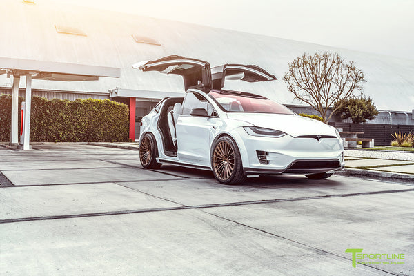 Pearl White Tesla Model X Limited Edition T Largo Wide Body Program with Brushed Bronze 22 inch Forged Wheels at Supercharger Station by T Sportline 4