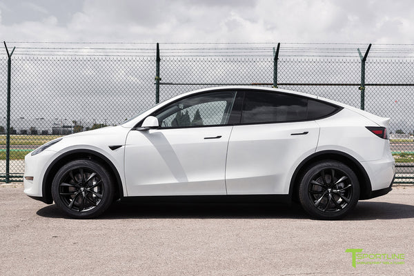 Pearl White Tesla Model Y with Matte Black 19 inch TSS Flow Forged Wheels by T Sportline